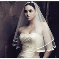 Wholesale Net Stores - Cheapest Simple Short Tulle Wedding Veil Accessory Free Shipping In Store Cheap Ribbon Edge Beige White Bridal Veil H0014