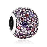Wholesale Mix Cross Charms - Authentic 925 Sterling Silver Bead Charm Pave Ball With Mixed Shades Crystal Beads Fit Women Pandora Bracelet Bangle Jewelry HKA3278