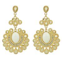 Wholesale Designer Gemstone Earrings - Designer Jewelry Gold Color Alloy Colorful Big Imitation Gemstone Flower Dangle Earrings for Women