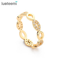 Wholesale Wedding Jewelry Champagne Color - Simple Design Elegant Wedding Ring Made With CZ Crystals Full Sizes Champagne-Gold Color For Women Wholesale Jewelry LUOTEEMI