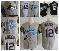 Wholesale New Men Ray - 2017 New Mens Tampa Bay Rays #12 Wade Boggs VINTAGE Baseball Jerseys Pullover Mesh BP Throwback Cooperstown Black Jersey Mix Order