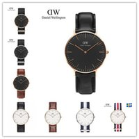 Wholesale Top Selling Stainless Steel Watches - Top selling luxury brand Daniel women men Wellington's fashion dw leather style 40mm mens watches montre femme relojes