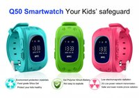 Wholesale Gprs Watches - Free Shipping Smart watch Children Kid Wristwatch Q50 GSM GPRS GPS Locator Tracker Anti-Lost OLED screen Smartwatch Child Guard iOS Android