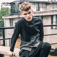 Wholesale Mens Satin Casual Shirts - Wholesale- VIISHOW Mens Dress Shirts Long Sleeve Hip Hop Slim Fit Casual 3XL Business Shirt Big Sizes Patchwork Leather Shirts C107853