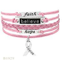Wholesale Infinity Hope - (10 pcs lot)Infinity Love Anchor Believe Hope Cancer Ribbon Charms Bracelet Gifts Bracelets For Women Hot Pink Leather Bracelets