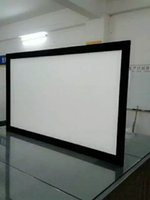 Wholesale Home theater inch HD fixed frame projector screen with soft white K perforated knitting D silver fabric