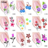 Wholesale fingernail decals stickers - Bittb 1Pc Flowers DIY Nail Art Sticker Makeup Beauty Water Transfer Printing Fingernail Decals Foil Decoration Manicure Tools