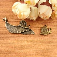 Wholesale Bronze Snail - DIY accessories materials bronze Zakka retro Small Animal Pendant ornaments leaf snail charms mail bag parts fitting, fashion tibetan charm