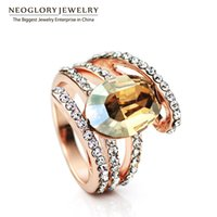 Wholesale Wholesale Swarovski Rings - MADE WITH SWAROVSKI ELEMENTS Crystal & Rhinestone Charm Multi Layer Rings for Women Neoglory Fashion Jewelry 2017 New Brand
