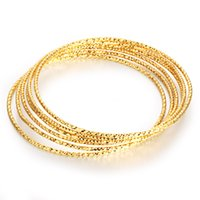 Wholesale 18k gold bracelet thin - Women thin brass Bangles 18K gold plating European and American fashion free combination of polycyclic wearing bracelet