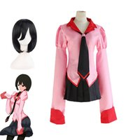Wholesale School Girl Wigs - Anime Owarimonogatari Oshino Ougi Cosplay Costumes Wigs Bakemonogatari Halloween Pink School Girls Uniforms Top+Skirt+Tie