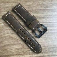 Wholesale 26mm Panerai - Vintage ocysa brand dark brown black Crazy horse genuine leather belt watch strap 24mm 26mm for Panerai pam watches