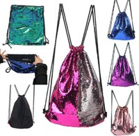 Wholesale Sequins Backpacks Bags Drawstring Bags Mermaid Sequins Shoulder Bag Reversible Paillette Backpack Travel Shoulder bag color KKA1630