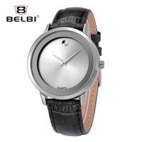 Wholesale Japan Quartz Watch Swiss - BELBI Luxury Leather Mens Watches Waterproof Japan Quartz Movement Watch Top Simple Dial Design Male Clock China Swiss AAA Famous Wristwatch