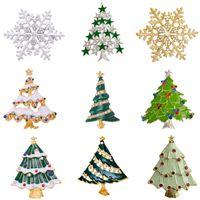 модные рождественские елки оптовых-MZC дешевые серебро золото Рождество Снежинка брошь красочные эмаль дерево брошь подарок ювелирные изделия декоративные булавки модные броши