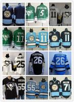 Wholesale Dark Green Jersey - Stitched Pittsburgh Penguins #71 Malkin 55 GONCHAR 25 TALBOT 26 FEDOTENKO 11 Staal blank Dark Blue Green Hockey Jerseys Ice Jersey