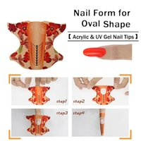 Wholesale acrylic oval nail tips - Wholesale- 100Pcs 1 Roll Oval Shape Adhesive Nail Form For Acrylic UV Gel Tip Nails Extension Nail Art Tools Nail Sticker