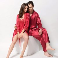0407 Gorgeous Silk Blend Uomini Donne Donne Sleepwear Pigiama Sets Sleep Camicie Maniche lunghe Pantaloni Coppie Amanti Nightclothes Nightie