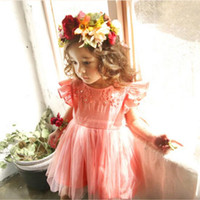 Wholesale Wholesale Dres - Girls Lace tutu Dresses Kids Girls Embroidered Floral Dres Baby Girl Princess Flutter Sleeve Dress 2017 childrens Summer clothes
