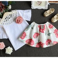 Wholesale 2PCS Set New Summer Toddler Kids Baby Girls T shirt Tops Skirt Dress Outfits Short Sleeve Dress CGC0045