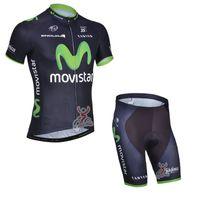 Wholesale Movistar Jersey Bibs - movistar team Summer Cycling Jerseys Ropa Ciclismo Breathable Bike Clothing Quick-Dry Bicycle Sportwear GEL Pad Bike Bib Pants A101