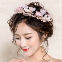 Wholesale Pink Rose Gold Earrings - 2Pcs set crowns tiaras beaded crown headpieces for wedding wedding headpieces headdress for bride dress headdress accessories with earring