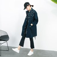 Wholesale Drawstring Denim Jacket - [soonyour] 2017 spring new Korean long section beaded drawstring waist denim windbreaker jacket for women KS2186