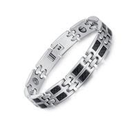 Wholesale Carbon Elements - 19cm Titanium Health Magnetic Bracelet Black Carbon Color Bio Elements High Quality Luxury Bangles & Bracelets Father's Day Gift B837S