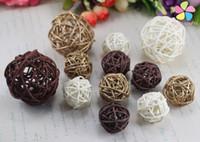Wholesale Wicker Balls Wholesale - Wholesale- Lucia Crafts 3-5cm Mixed 3 Colors Vintage Sepak Takraw Ball Decoration Accessories 12pcs lot 024063