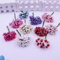 Wholesale Craft Wreaths Wholesale - Wholesale-10pcs Foam Silk Stamen Handmade Artificial Berry Flower Wedding Decoration DIY Wreath Gift Box Scrapbooking Craft Fake Flower