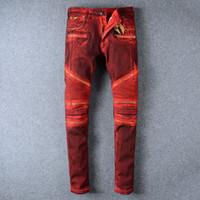 Wholesale Printed Skinny Jeans 28 - 2017 Fashion Red Washing Jeans Skinny Pants Angel Wings Pocket Diamond Decorate Pocket Rock Hip-Hop Dancing Pants