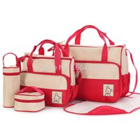 Wholesale Mom Bag Set - 5 Pieces One set Baby Diaper Nappy Women's Handbag Tote Package Diaper Bags Baby Mom Bag