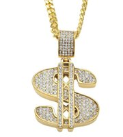 Wholesale Pendant Gold Dollar - Gold Color $ Money Symbol Pendant Hip Hop Bling Crystal Dollar Sign 76cm Gold Link Chain Pendant Necklace Men Women Jewelry