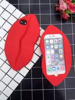 sexy red big lips al por mayor-Sexy Lip Soft Funda de silicona para iPhone 7 Plus 6 6S 6 Plus 3D Lindo Boca Grande Rojo Mariposa Moda Sexy Beso Caucho Silicona Contraportada Piel