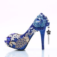 Wholesale Leopard Platform Heel Shoes - 2017 Gorgeous Rhinestone Wedding Shoes Blue Crystal Bride Dress Shoes Flower and Phoenix Platform Heels Cinderella Prom Pumps