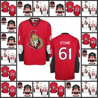 nombres de piedras al por mayor-Jerseys de hockey para hombre 45 Chris Wideman 61 Mark Stone 68 Mike Hoffman Jerseys de Ottawa Senators, nombre y número Logotipos de bordado cosidos