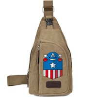 Wholesale Cute Waist Bag - Cute Captain America sling backpack Shield chest bag Hot day pack One shoulder rucksack Single strap case Outdoor sport waist pouch