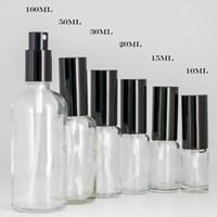botellas de spray de aceite de perfume al por mayor-10 ml 15 ml 30 ml 50 ml 100 ml botellas de spray de vidrio transparente con rociador de niebla fina negro para aceites esenciales, perfume, nebulización aromaterapia