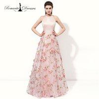 Wholesale Designer Halter Evening Gown - Fashion Designer Cheap Customize Baby Pink Halter Summer Printed Organza A-line Formal Evening Dress Prom Gown 2017