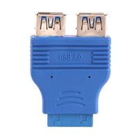 câble d'en-tête carte mère usb achat en gros de-ZJT12 Embase de carte mère 20 broches femelle vers double USB 3.0 Type A-Femelle Adaptateur Connecteur Bleu