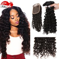 Cheap Brazilian Curly With Closure Cheveux Humains Tissage Avec 1 pc 4 * 4 Middle / Free Part Top Lace Closure Acheter Hair Online