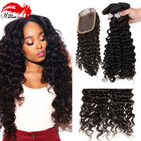 Wholesale Cheap Hair Buys - Cheap Brazilian Deep Curly With Closure Human Hair Weaving With 1 pc 4*4 Middle Free Part Top Lace Closure Buy Hair Online