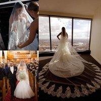 Wholesale long laced vintage veils resale online - 2020 Vintage Beach Bridal Veils One Layer Lace Applique Edge Bride Veils Custom Made Long Wedding Veil