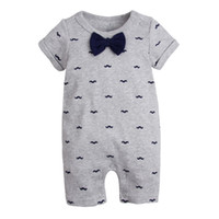 Wholesale mustache baby - Baby boys Mustache Jumpsuits Rompers Short Sleeve Short Pants Tie Bow Newborn Infant Toddler 1 Year Birthday Party