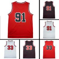 Wholesale R 33 - Throwback Mesh Cheap Mesh R n #91 Basketball Jerseys S e P n #33 Jersey Men Christmas gift embroidery Logos Jerseys free shipping