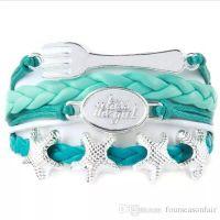 Wholesale Braid Braclet - Custom-Infinity Love Kiss the Girl Mermaid starfish Charm Braclet Wax Cords Wrap Braided Leather Adjustable Bracelet Bangles-Drop Shipping