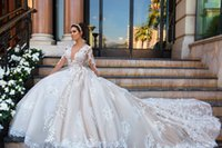 Wholesale Gown Long Feather Skirt - 2017 New Luxury Lace Wedding Dresses A Line Deep Plunging Long Illusion Sleeves Backless Chapel Train Wedding Bridal Gowns Custom Made