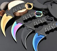 Wholesale Wholesale Camping Hunting China - quality China made 5 Style CSGO Karambit knife Claw knife Fixed blade knife EDC Pocket knives Necklace with ABS K sheath