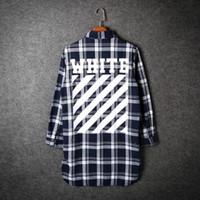 Wholesale Wholesale Womens Dress Tops - Wholesale- Men autumn off white casual plaid shirt hip hop flannel dress shirts womens long blouse clothing bigbang slim fit tops camisa