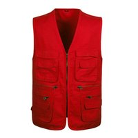 Wholesale Photography Works - Wholesale- L-4XL Red Photography Vest With Many Pockets Men Sleeveless Jacket Black Army Green Khaki Photographer Mens Work Vests Brand